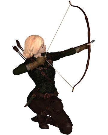Illustration of a Blonde female archer with bow and arrow taking a kneeling shot Foto de archivo