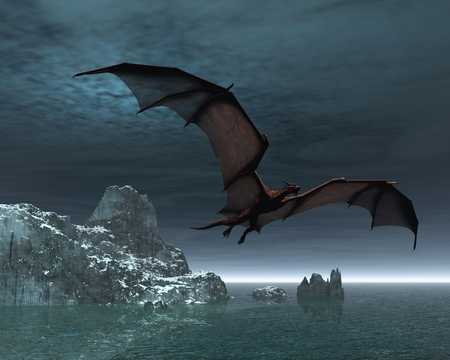 creature of fantasy: Red dragon flying over the sea and snow covered islands at night
