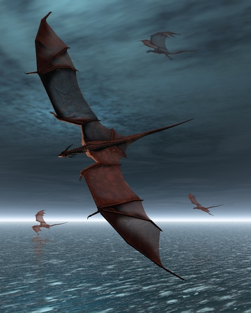 A flight of four red dragons over a calm moonlit sea