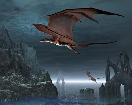 the dragons: Los dragones rojos volando sobre extra�as islas en un mar iluminado por la luna tranquila, 3d rindi� la ilustraci�n digital