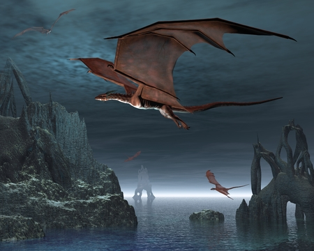 Red dragons flying over strange islands in a calm moonlit sea, 3d digitally rendered illustration