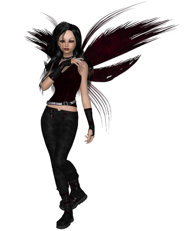 faery: Illustration of an Urban fairy dressed in black with red wings, 3d digitally rendered illustration