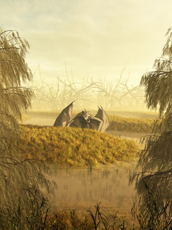 Dragon crawling through a misty swamp, 3d digitally rendered illustration illustration
