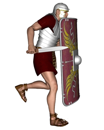 Illustration of a Legionary soldier of the Roman Empire wearing lorica segmentata, 3d digitally rendered illustration