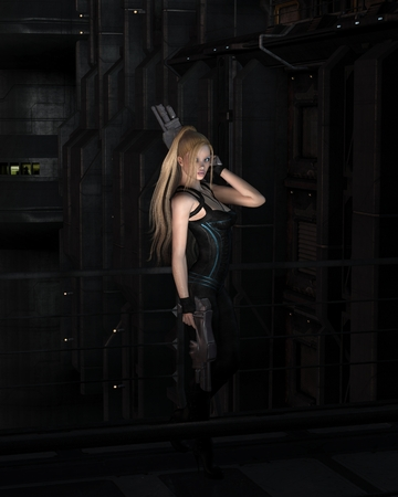 heroine: Illustration of a Futuristic science fiction female warrior character standing in a dark city street at night, 3d digitally rendered illustration