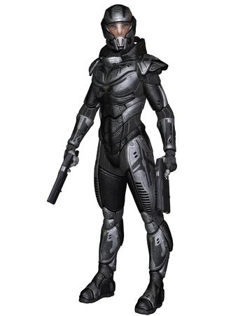 保護装甲宇宙服で未来的なサイエンス フィクション女性兵士の図では、立って保持拳銃、3 d デジタル イラストをレンダリング