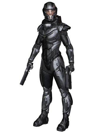 Illustration of a Female futuristic science fiction soldier in protective armoured space suit, standing holding pistols, 3d digitally rendered illustration
