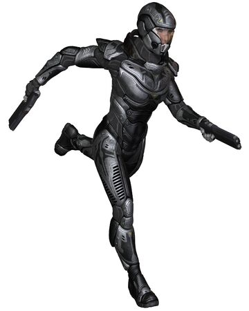 space suit: Illustration of a Female futuristic science fiction soldier in protective armoured space suit, running holding pistols, 3d digitally rendered illustration Stock Photo