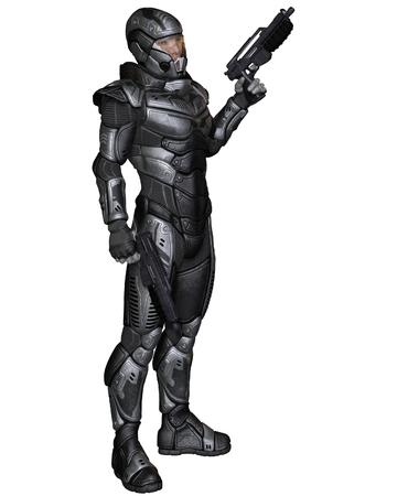 Illustratie van een futuristische science fiction soldaat in beschermende gepantserde ruimtepak, staande bedrijf pistolen, 3d digitaal teruggegeven illustratie