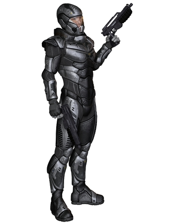 Illustration of a Futuristic science fiction soldier in protective armoured space suit, standing holding pistols, 3d digitally rendered illustration