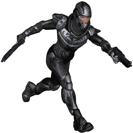 Illustration of a Futuristic science fiction soldier in protective armoured space suit, running holding pistols, 3d digitally rendered illustration illustration