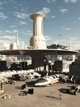 spaceport: Busy spaceport in a futuristic science fiction city on a bright sunny day, 3d digitally rendered illustration