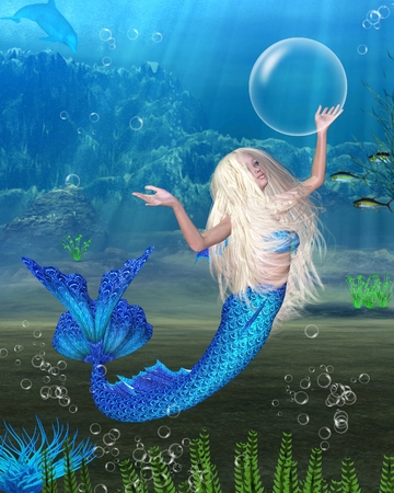 3d mermaid: Illustration of a Pretty blonde mermaid with bubbles in an underwater background, 3d digitally rendered illustration