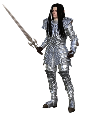 Illuf an Elf warrior in decorated armour standing holding a sword, 3d digitally rendered illustrationstration o illustration