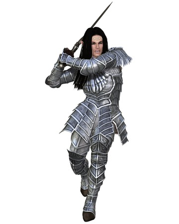 man long hair: Illustration of an Elf warrior in decorated armour attacking with a sword, 3d digitally rendered illustration