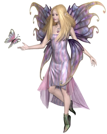 fey: Illustration of a Pretty blonde fairy with purple dress and wings and a pink butterfly, 3d digitally rendered illustration