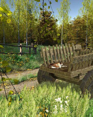carreta madera: Gato dormido bajo el sol en la parte trasera de un viejo carro de madera o vagón, 3d rindió la ilustración digital