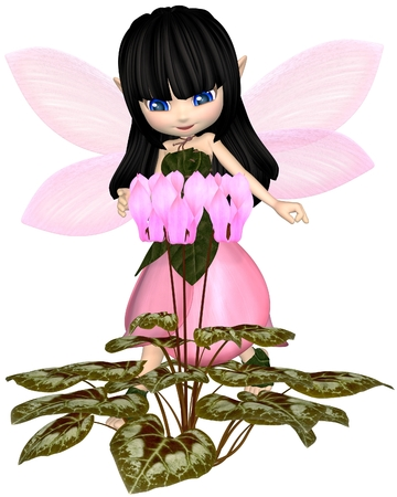 dark haired: Cute toon dark haired fairy in leaf and petal dress with pink wings, looking at pink cyclamen flowers, 3d digitally rendered illustration Stock Photo