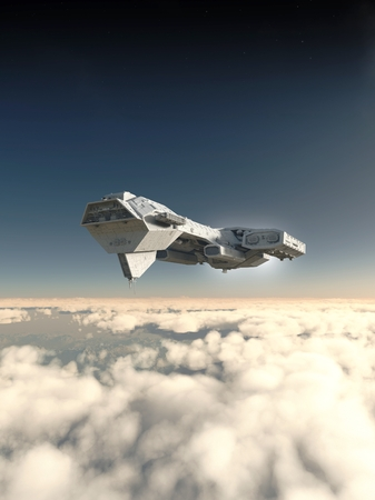 Science fiction spaceship inside the atmosphere of an earth-like planet, 3d digitally rendered illustration Stock Photo