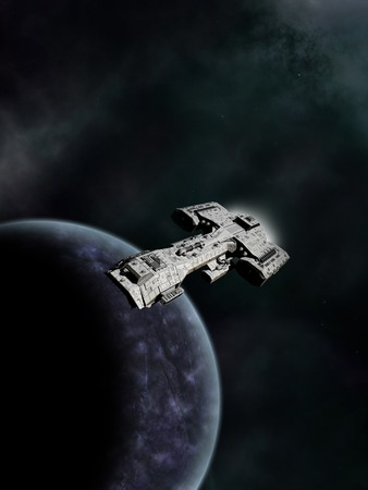 Science fiction spaceship in high orbit above an alien world, 3d digitally rendered illustration Stock Photo