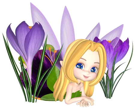 잎과 봄 크로커스 꽃 사이에있는 꽃잎 드레스에 귀여운 툰 보라색 크로커스 요정, 디지털 그림 렌더링 된 3D