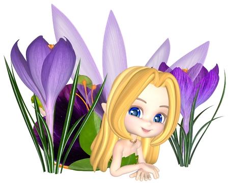 Cute toon purple crocus fairy in leaf and petal dress lying between spring crocus flowers, 3d digitally rendered illustration Banco de Imagens