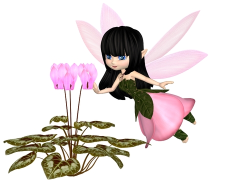 toon: Cute toon dark haired fairy in leaf and petal dress with pink wings, flying towards pink cyclamen flowers, 3d digitally rendered illustration