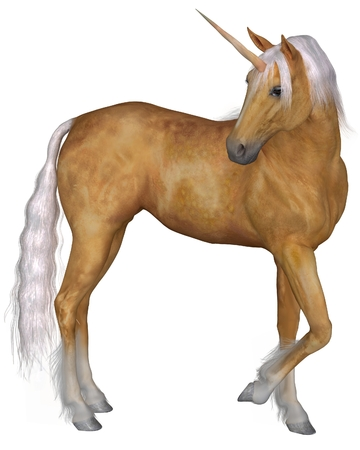 Magical palomino unicorn with golden horn and silver mane and tail turning against a white background, 3d digitally rendered illustration illustration