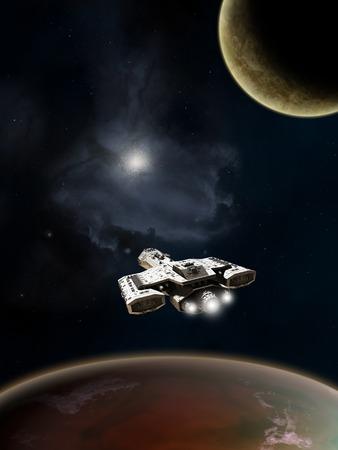 깊은 우주에서 붉은 행성 위의 공상 과학 소설 우주선, 디지털 그림 렌더링 된 3D