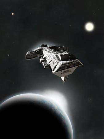공상 과학 소설 우주선은 먼 태양계 행성 사이의 비행, 디지털 그림 렌더링 된 3D