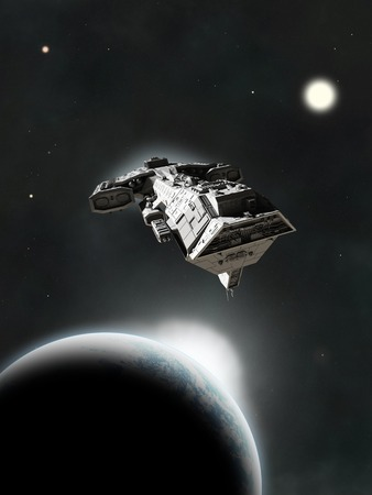 Science fiction ruimteschip vliegt tussen planeten in een ver zonnestelsel, 3d digitaal teruggegeven illustratie Stockfoto
