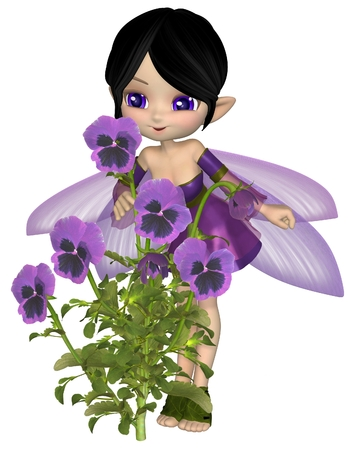 dark haired: Cute toon dark haired fairy in with purple dress and wings, standing with purple pansy flowers, 3d digitally rendered illustration