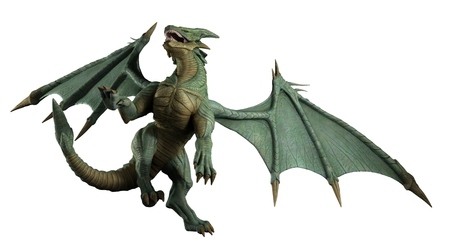 flying dragon: Large green dragon turning in flight, 3d digitally rendered illustration Stock Photo