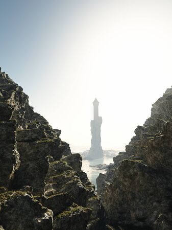 mediaeval: Mediaeval or fantasy tower almost hidden in the sea mist between the cliffs, 3d digitally rendered illustration
