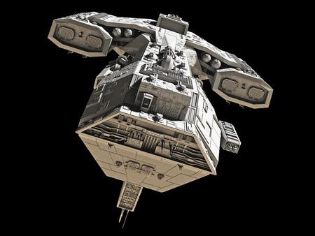 Science fiction ruimteschip geïsoleerd op een zwarte achtergrond, vooraanzicht, 3d digitaal teruggegeven illustratie