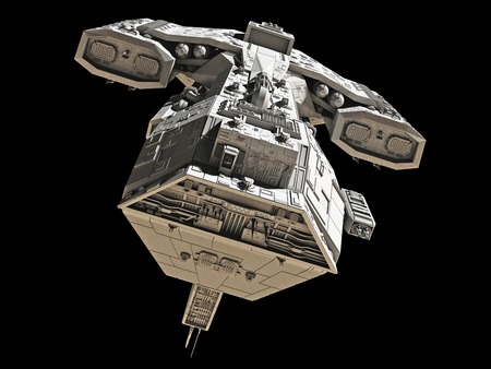 Science fiction spaceship isolated on a black background, front view, 3d digitally rendered illustration illustration