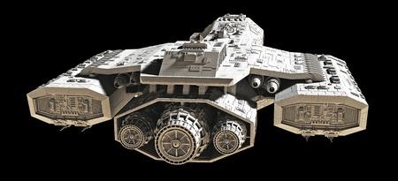 Science fiction ruimteschip geïsoleerd op een zwarte achtergrond, achteraanzicht, 3d digitaal teruggegeven illustratie