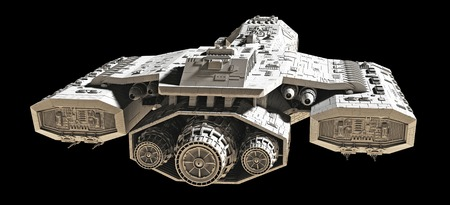 backview: Science fiction spaceship isolated on a black background, back view, 3d digitally rendered illustration