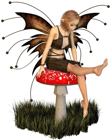 toadstool: Illustration of a pretty fairy with brown wings sitting on a toadstool, 3d digitally rendered illustration