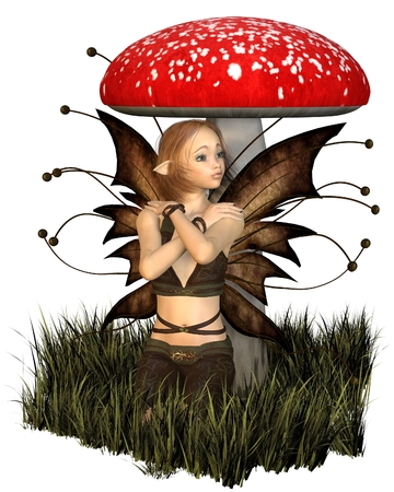 toadstool: Illustration of a pretty fairy with brown wings sheltering under a toadstool, 3d digitally rendered illustration