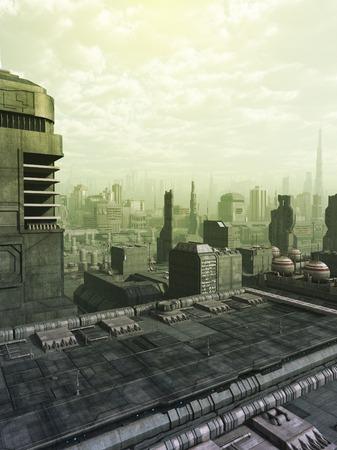 녹색 안개 나 스모그 미래의 공상 과학 소설 도시의 스카이 라인, 디지털 그림 렌더링 된 3D