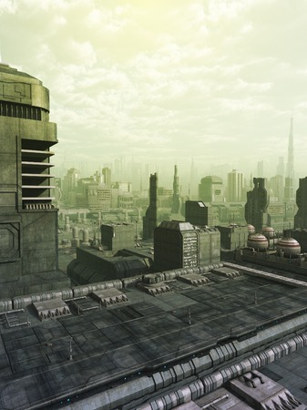 fantasy fiction: Futuristic science fiction city skyline in a green haze or smog, 3d digitally rendered illustration Stock Photo