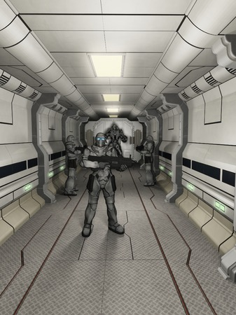 Illustration of space marine troopers and battle robot guarding a science fiction corridor, 3d digitally rendered illustration illustration