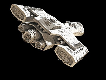 Science fiction spaceship isolated on a black background 3d digitally rendered illustration Stock Photo