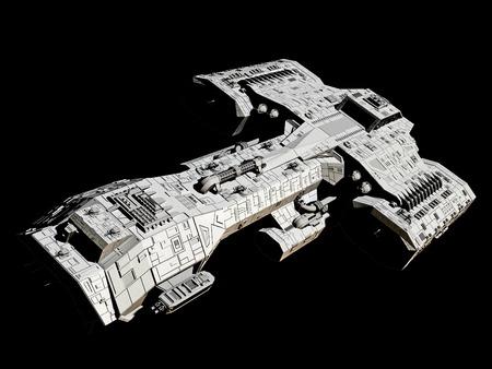 Science fiction ruimteschip geïsoleerd op een zwarte achtergrond, voorzijde schuin oog, 3d digitaal teruggegeven illustratie