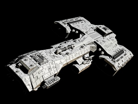 science background: Science fiction spaceship isolated on a black background, front angled view, 3d digitally rendered illustration