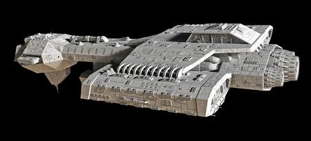 검은 배경에 고립 공상 과학 소설 우주선, 디지털 그림 렌더링 된 3D