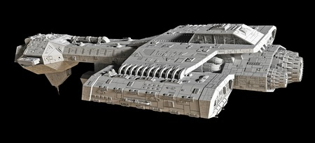 starship: Science fiction spaceship isolated on a black background, 3d digitally rendered illustration