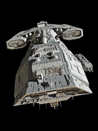 Science fiction ruimteschip geïsoleerd op een zwarte achtergrond 3d digitaal teruggegeven illustratie Stockfoto
