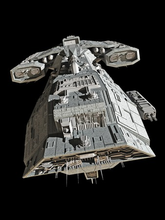 spaceship: Science fiction spaceship isolated on a black background 3d digitally rendered illustration Stock Photo